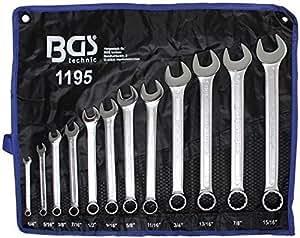 "BGS 1195 Jeu de clés mixtes 12 pièces, Argent, 1/4""-15/16"""