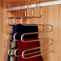 Ecolife–Grucce per pantaloni, in acciaio inox robusto, forma s, grucce salvaspazio appendere Jeans, sciarpe, cravatte, Sparsame conservazione per tutta la famiglia (1pezzo)