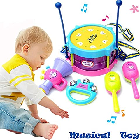 Kids Musical Instruments Drum Children Toy Set Gift for Baby Boy Girl (Random Color Delivery)