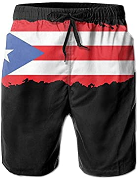 Puerto Rico Men's/Boys Casual Shorts Swim Trunks Swimwear Elastic Waist Beach Pants with Pockets