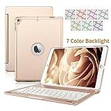 Funda con Teclado Dingrich para iPad Air 2, Ultrafina, con Teclado inalámbrico, con Tapa Aluminio y diseño de Cartera