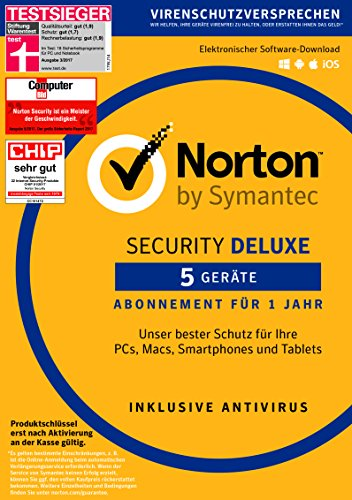 Norton Security Deluxe | 5 Geräte | PC/Mac/Smartphone/Tablet | Download