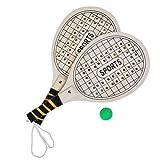 JuniorToys XL Beachball Set 3tlg Strand-Tennis Schläger aus Holz mit Ball - Das beliebteste Spielzeug für Strand und Garten