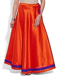 Very Me Women's Designer Orange Faux Silk Solid Plain Skirt