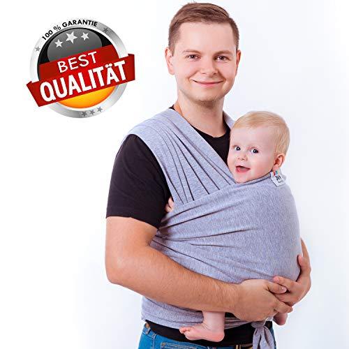 JVS family Babytragetuch aus 100{b605a8b0f98651053e8550e3453051e41d76b5e999983db2badb6e61b0e301e0} sanfter Bio Baumwolle - Baby Tragetuch für Neugeborene - Hochwertige Babytragetasche für unterwegs - Ideales Erstausstattungs-Geschenk
