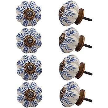 1 Home Ceramic Door Knobs Cabinet Drawer Wardrobe Cupboard Kitchen Pull Pack 5