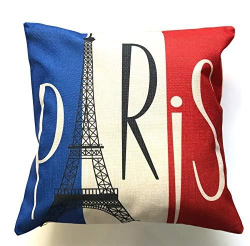 LilyNa Kissenbezug Kissenbezüge Paris Überwurf Kissen Dekorative Kissenhüllen für Zuhause, Büro, Sofa, Outdoor 45,7x 45,7cm