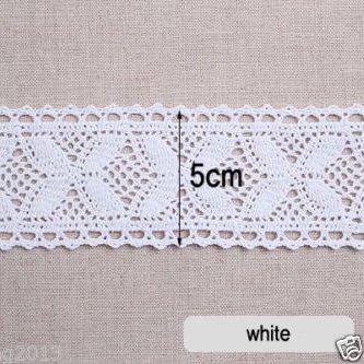 0,9m cotone pizzo sangallo pizzo crochet Trim 5cm YH024 Infradito colorati estivi, con finte perline