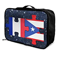 AGnight Portable Luggage Bag France Puerto Rico Flags Puzzle Travel Duffle Bag Lightweight Large Capacity Tote Bag Portable Luggage Bag Handbag