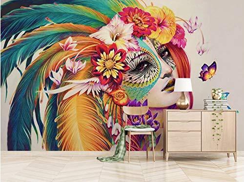 VVBIHUAING 3D Tapete Wandbilder Aufkleber Wand Dekorationen Farbiger Federfrauenavatar Dekoration Home Wohnzimmer Hintergrund Landschaft Kunst Kinderküche (W) 140x(H) 100cm