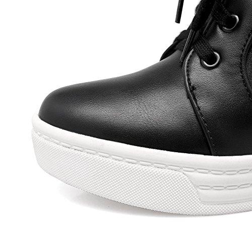 VogueZone009 Damen Weiches Material Rund Zehe Gemischte Farbe Niedrig-Spitze Stiefel Schwarz