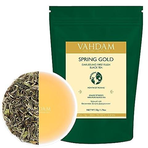 Spring Gold First Flush, Harvest, Signature Blend Loose Leaf Black Tea, 100% Pure Unblended Darjeeling Tea, Garden Fresh & Direct from Source in India (1.76oz/50g)