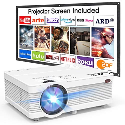 51HmzmlAvyL. SS500  - Projector QKK AK-81 Mini Projector with Projection Screen, 4500 Lumen Video Projector Supports 1080P Full HD Compatible with TV Stick, PS4, HDMI, VGA, SD, AV and USB, Home Theater Projector, White.