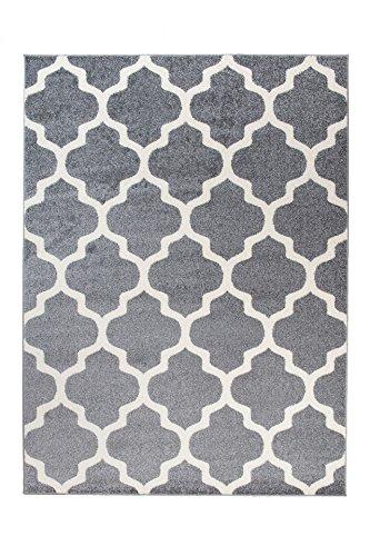 Tapiso Alfombra De Salón Moderna Colección Marroquí – Color Gris De Diseño Geométrico Enrejado – Mejor Calidad – Diferentes Dimensiones S-XXXL 300 x 400 cm