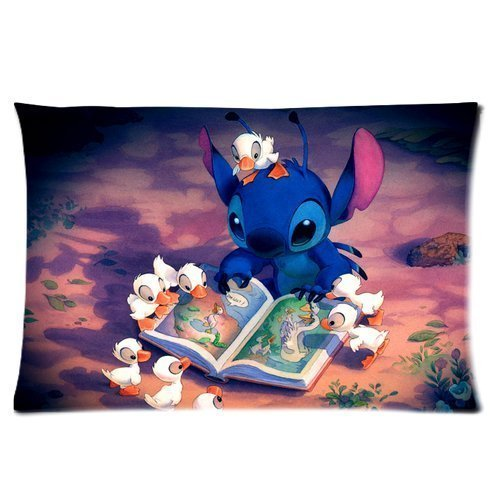 Cute Fashion Lilo & Stitch Hot Sale Shop Custom Adorable Cotton & Polyester Soft Rectangular Zippered Pillow Case 16x24 Inches Two sides