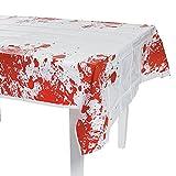 Ekelige und blutige Halloween Tischdecke Deko mit Blutspritzern Blut Horror Halloweendeko
