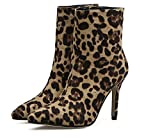 Chelsea Boot Bow Round Toe High Tube Boot Kitin Talon Chaud / Hiver Chaussures À Talons En Cuir Femmes Comfort Boot ( Color : Leopard , Size : 40 )