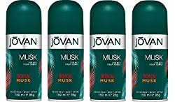 Jovan Tropical Musk Deodorant Body Spray pack of 4