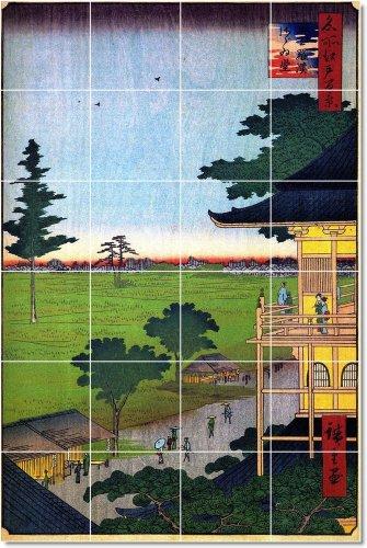AZULEJO UTAGAWA HIROSHIGE UKIYO-E MODERN MURAL REMODELACION  24 X 91 44 CM CON (24) 6 X 6 AZULEJOS DE CERAMICA
