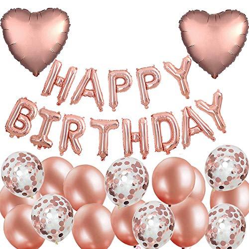 MAKFORT Geburtstag Deko Rosegold Happy Birthday Folienballons Girlande mit Konfetti Luftballons Roségold Für Geburtstag Partydeko Mädchen und Frauen