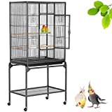 Yaheetech 53.7''H Mobile Large Parrot Cage w/ Stand Bird Cage for Conures Parakeets Cockatiels Large Rolling Metal Pet Cage for Small Animal with Detachable Stand
