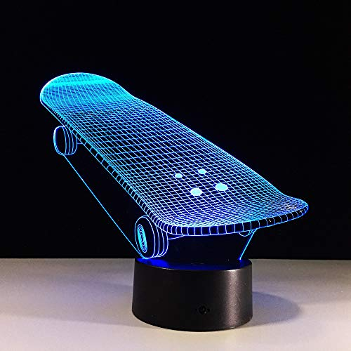 BFMBCHDJ 2D Acryl Skate Board 3D Lampe Roller Luminaria Wohnzimmer Dekor Sport Geschenke 7 Farben Ändern Lamparas de mesa