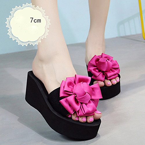 Estate Sandali 7cm- tacchi alti multi-colore Pantofole donna da estate Pattini da spiaggia con tacco alto Sandali da moda per 18-40 anni Colore / formato facoltativo Rose red-7cm