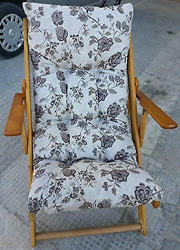 Chaise longue pliante en bois, coussin rembourré, hauteur 100 cm, pour séjour, cuisine, salon