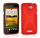 Cadorabo - TPU X-line Style Silikon Hülle für HTC ONE S - Case Cover Schutzhülle Bumper in INFERNO-ROT
