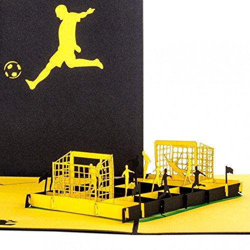 """Pop Up Karte\""""Fußballfan\"""" Schwarz & Gelb - 3D Fußball Geburtstagskarte & Einladungskarte zum Geburtstag für Fans von Dortmund, Aachen u.v.m."""