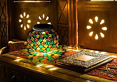 Mosaic Solar Light, KASIMO Led Solar Ball Table Light, Waterproof & Color changing Glass Night light for Outdoor/Indoor Decoration, Bedroom, Party, Garden, Christmas Day, Prefect Present for Adult and kids from KASIMO