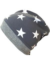 WOLLHUHN ÖKO Beanie-Mütze mit Sternen grau/weiß (aus Öko-Stoffen, bio) für Mädchen und Jungen, 20150225