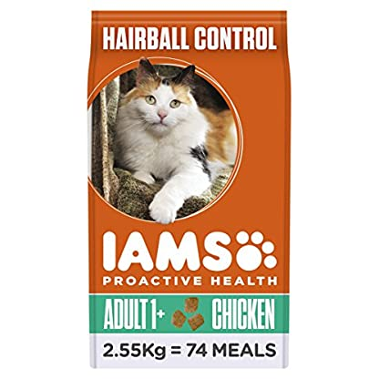 Iams Dry Cat Food Adult Hairball Chicken, 2.55 kg - Pack of 3 1