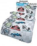 RENNAUTO Fein Biber Kinder Jungen Bettwäsche · Auto & Rennwagen · Formel 1 Cars auf der Rennbahn in Grau, Blau - Kissenbezug 80x80 + Bettbezug 135x200 cm - 100% Baumwolle