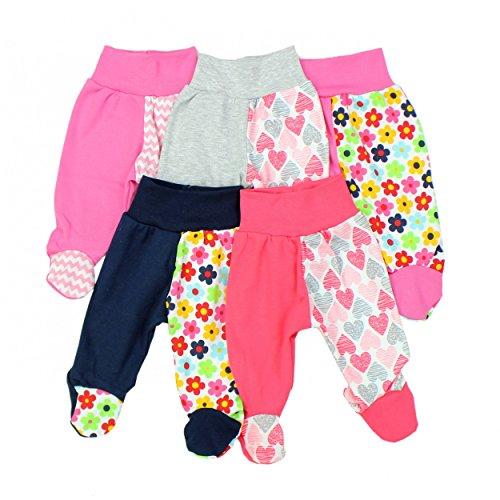 TupTam Baby Hose mit Fuß Jungen Strampelhose Babyhose Strampler Mädchen Stramplerhose im 5er Pack, Farbe: Mädchen, Größe: 74