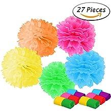Paxcoo 15 Pcs Papel de Tejido de Color Pom Poms con 12 Rollos Crepe Paper Streamers para Decoraciones de Fiesta