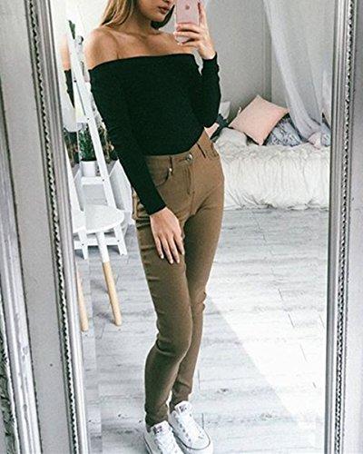Minetom Femmes Chic Top Manches Longues Épaules Nues Col Bateau Pull Sweater Knitting Chemise Haut Blouse Top Noir