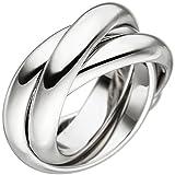 JOBO Damen Ring verschlungen aus 3 Ringen 925 Sterling Silber Silberring Größe 54