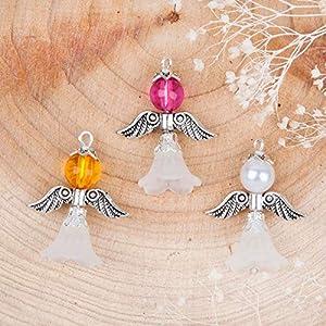 3er Set Charm Engel Anhänger Schutzengel mit Flügel imitierte Perle 29 x 23 mm
