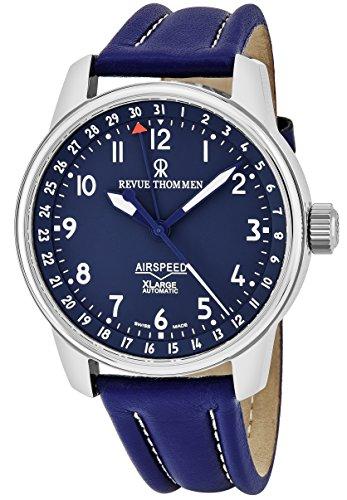 Revue Thommen Air Speed uomo blu quadrante dell' orologio data cinturino in...