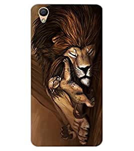 ColourCraft Lion and Cute Cub Design Back Case Cover for OPPO F1 PLUS