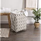 gracious mart Laundry Basket European Pattern Laundry Hamper Cloth Bag with Foldable Stand Support