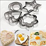 #10: R Dabhi 12 Pcs Set Includes- 3 Stars Shape, 3 Flowers Shape, 3 Round Shape, 3 Hearts Shape- Cookie Cutter Stainless Steel
