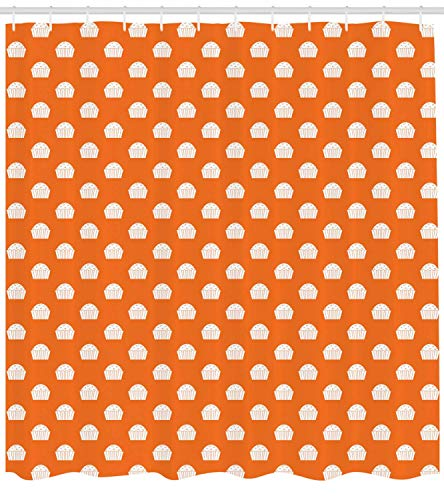 tgyew Cupcake Shower Curtain, Cute Muffins Pastry Baked Goods Birthday Cakes Celebration Sweet Food Dessert, Cloth Fabric Bathroom Decor Set with Hooks, 60x72 inches, Orange White