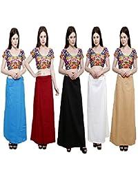 Pistaa's Combo Of Women's Cotton Readymade Inskirt Saree Petticoats (Blue Turquoise, Deep Maroon, Black, Off White, Skin_Free Size)