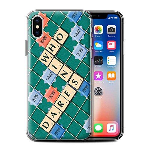 Stuff4 Gel TPU Hülle / Case für Apple iPhone X/10 / Kennen Muster / Scrabble Worte Kollektion Wer Wagt Es