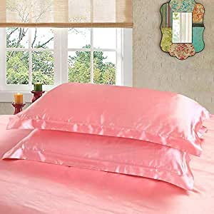 Dehman 2X 100-Percent Silky Satin Pillowcase for Hair Beauty, Prevent Side Sleeping Wrinkles, Have Good Dreams (Light Pink, Toddler Size,12X19 INCHES)