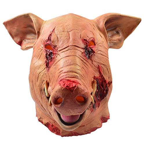 (MeijieM Schwein Maske Latex Halloween Maske Latex Tiermaske Schweinekopf für Halloween Weihnachten Party Maskerade)