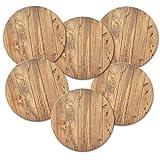 ADDIES Untersetzer 6-TLG. Set Holzoptik mit Korkrückseite in hochwertiger Klarsicht-Geschenkbox - rund - Kork