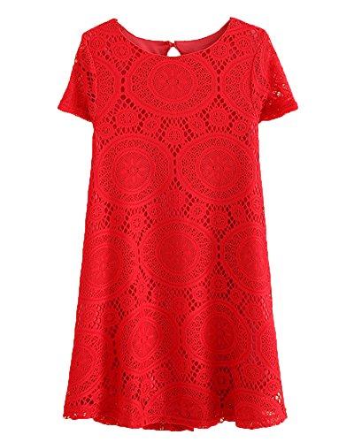 Vestito donna taglie forti sciolto estate elegante pizzo manica corta abito a linea a rosso 2xl